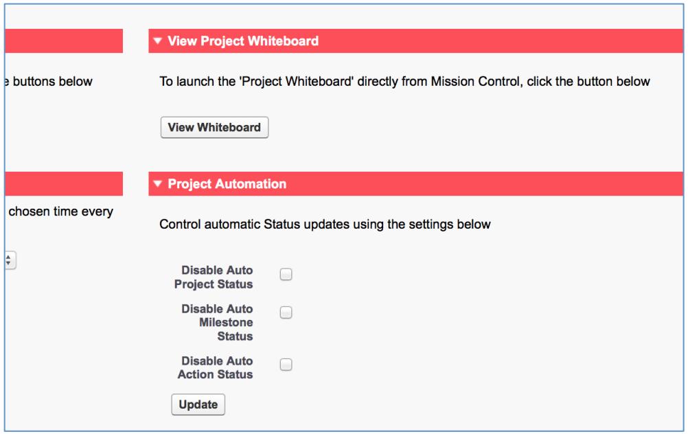 Mission Control Project Management Salesforce.com AppExchange Automation Settings Process