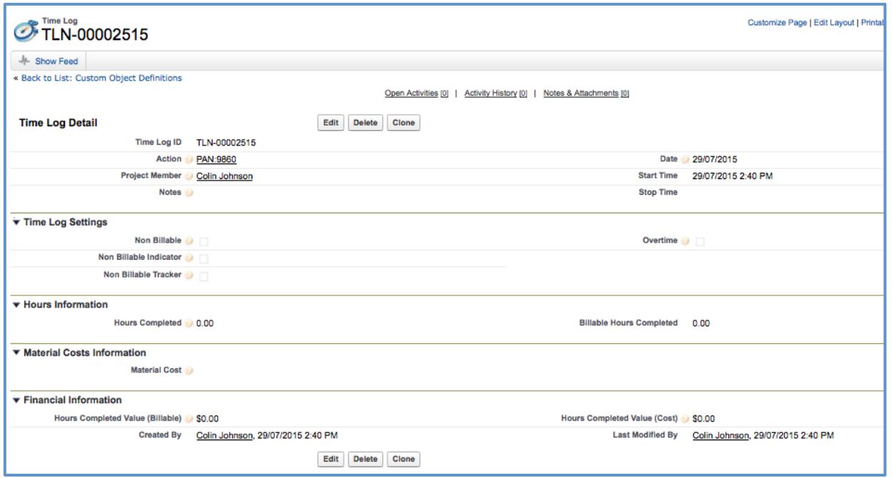Mission Control Project Management V1.29 Salesforce.com Page Layout