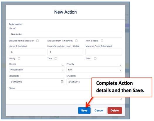 Gantt Action Create