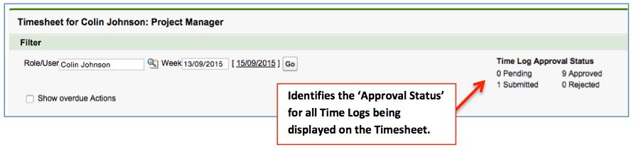 Time Log Approval Status