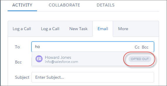 Salesforce.com CRM System Lightning Experience Spring '16 Email Opt Out Bounce Notification